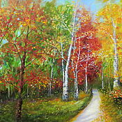 Картины и панно handmade. Livemaster - original item Autumn oil painting In the Park Autumn oil painting. Handmade.