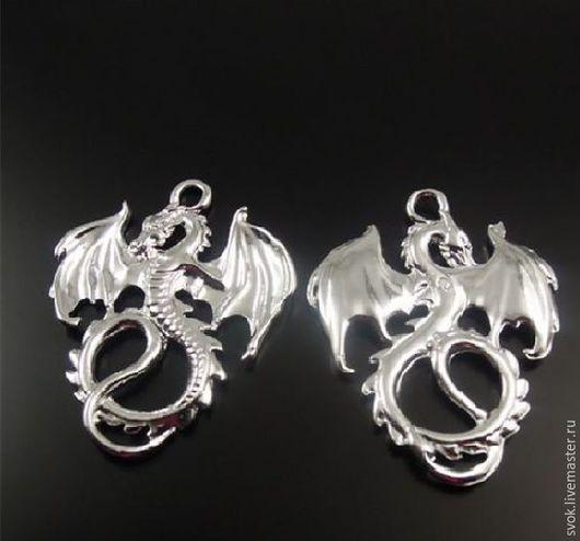 Для украшений ручной работы. Ярмарка Мастеров - ручная работа. Купить Металлическая подвеска дракон, серебро. Handmade. Кулон