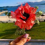 handmade. Livemaster - original item Brooch-pin: Silk poppy