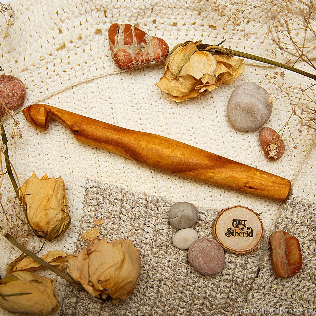 Деревянный Крючок для вязания 18 мм Вишня Крючки из дерева #K63, Инструменты, Новокузнецк, Фото №1