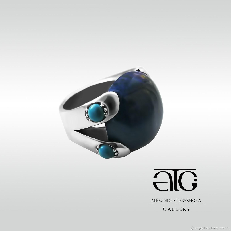 Великолепное кольцо с лазуритом и  бирюзой!