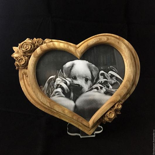 """Фоторамки ручной работы. Ярмарка Мастеров - ручная работа. Купить Фоторамка """"Сердце """". Handmade. Фоторамка из дерева, натуральные материалы"""
