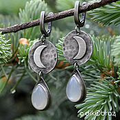Украшения handmade. Livemaster - original item Silver Moonlight earrings, adult. Handmade.