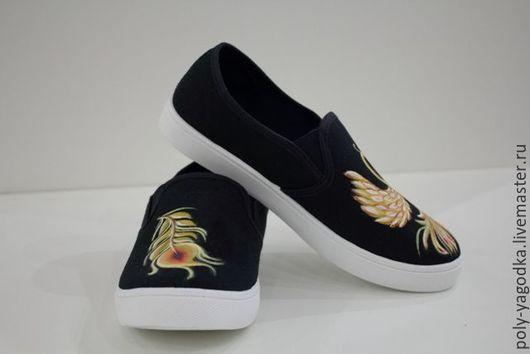 Обувь ручной работы. Ярмарка Мастеров - ручная работа. Купить Слипоны ЖАР-ПТИЦА. Handmade. Черный, охра, жар птица