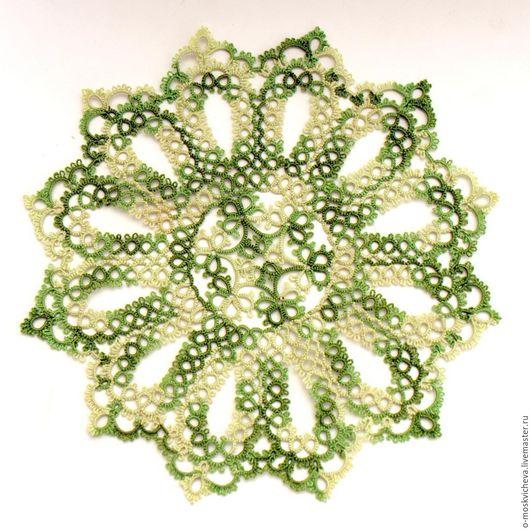 Текстиль, ковры ручной работы. Ярмарка Мастеров - ручная работа. Купить Салфетка фриволите меланжевого цвета зелени. Handmade.