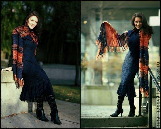 """Платья ручной работы. Ярмарка Мастеров - ручная работа. Купить Вязаное платье """"Ночной вальс"""". Handmade. Тёмно-синий"""