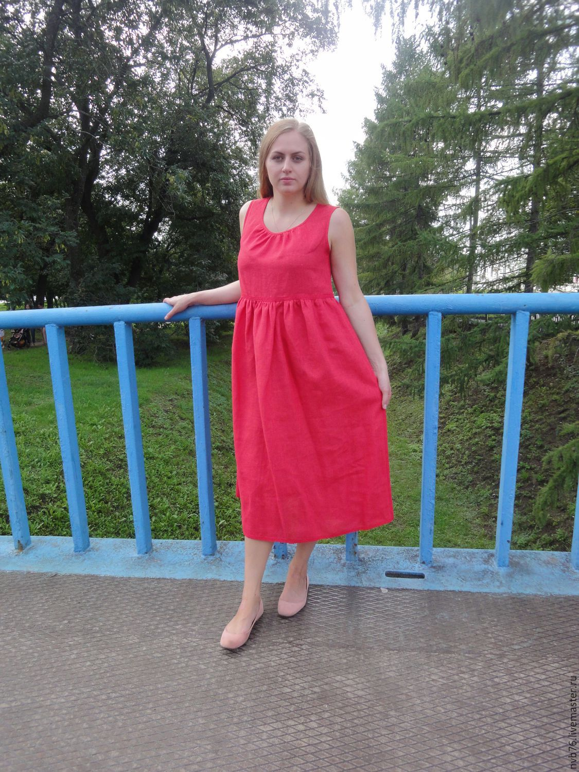 Red Linen Summer Dress