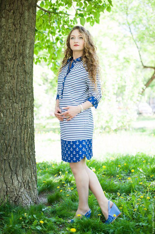 Платья ручной работы. Ярмарка Мастеров - ручная работа. Купить Новинка - Платье-рубашка - Морское - синий. Handmade. Комбинированный