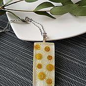 Кулон ручной работы. Ярмарка Мастеров - ручная работа Кулон с настоящими цветами ромашки. Handmade.