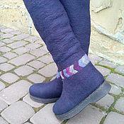 Обувь ручной работы. Ярмарка Мастеров - ручная работа Ботфорты из шерсти до середины колена Шторм. Handmade.