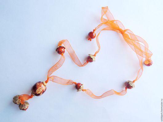 Кулоны, подвески ручной работы. Ярмарка Мастеров - ручная работа. Купить Украшение на шею (кулон) «Болдинская осень». Handmade. рыжий