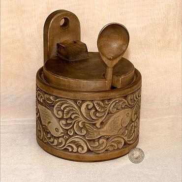 Посуда ручной работы. Ярмарка Мастеров - ручная работа Большая солонка с откидной крышкой и ложкой. Handmade.