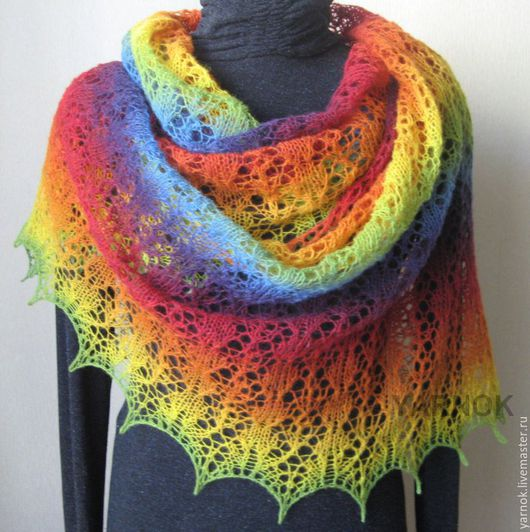 Шаль `Воздушные шары`, пряжа Кауни 8/1, цвет Rainbow (Радуга) , шерсть 100%