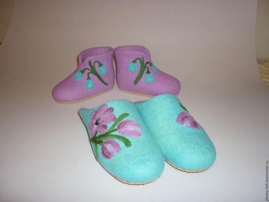 """Обувь ручной работы. Ярмарка Мастеров - ручная работа. Купить Тапочки валяные """"Для девочек"""". Handmade. Бирюзовый, дизайнерская работа"""