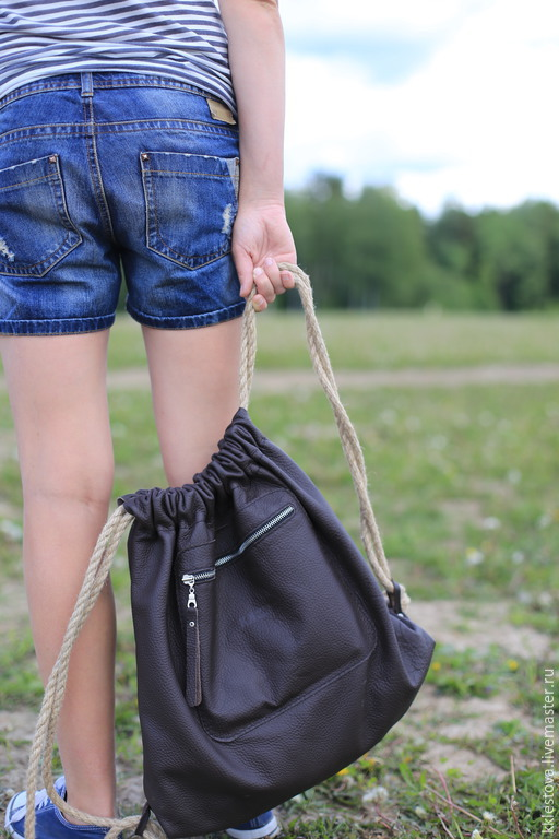 Рюкзаки ручной работы. Ярмарка Мастеров - ручная работа. Купить Рюкзак-мешок из кожи КРС. Handmade. Кожа, сумка из кожи