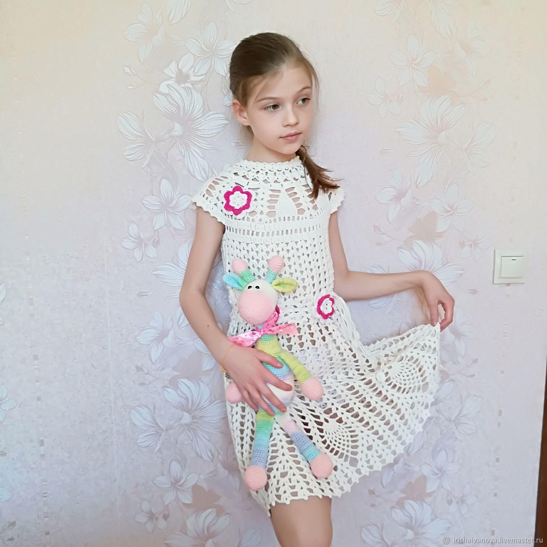 Вязаное летнее платье Белая Сирень для девочки 7 - 9 лет крючком, Платья, Полоцк, Фото №1