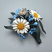 Украшения handmade. Livemaster - original item Brooch SUMMER BOUQUET, jewelry of genuine leather. Handmade.