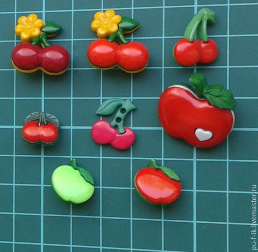 Шитье ручной работы. Ярмарка Мастеров - ручная работа. Купить Пуговицы фрукты- ВИШНЯ И ЯБЛОКИ. Handmade. Пуговицы