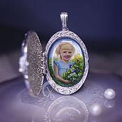 Украшения handmade. Livemaster - original item Opening Medallion with a portrait on mother of pearl. Lacquer miniature. Handmade.