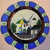 """Для дома и интерьера ручной работы. Ярмарка Мастеров - ручная работа Настенные часы """" Дождь"""" Стекло, фьюзинг. Handmade."""