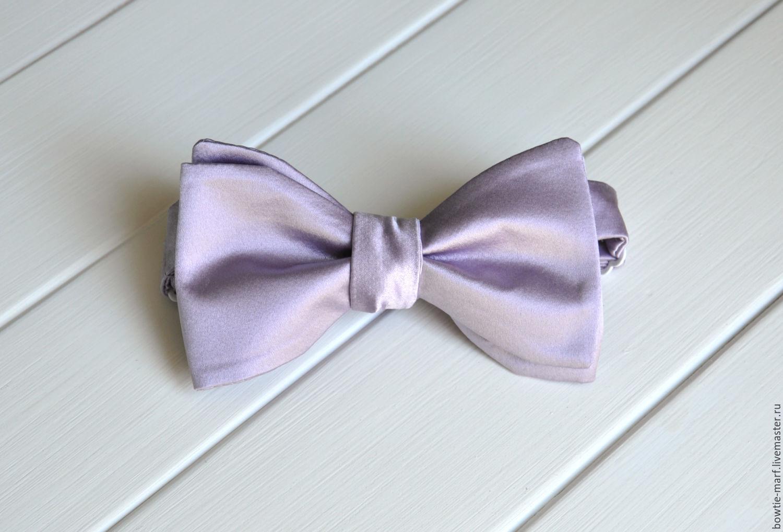 Галстук-бабочка самовяз Бледно-лилового цвета, шелк Италия - стильный аксессуар ручной работы от MARF.