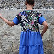 Одежда ручной работы. Ярмарка Мастеров - ручная работа Синее длинное летнее макси бохо платье из хлопка, ручная работа. Handmade.