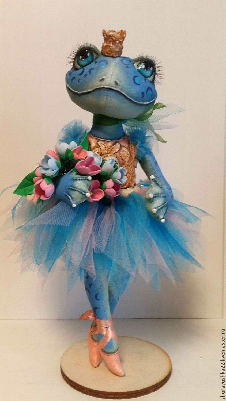 Blue frog ballerina. textile doll. reserve, Dolls, Pskov,  Фото №1
