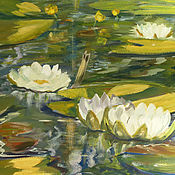 Картины ручной работы. Ярмарка Мастеров - ручная работа Картина Белые кувшинки, картина гуашью, картина для интерьера. Handmade.