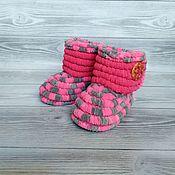Работы для детей, handmade. Livemaster - original item Children`s shoes: plush knitted boots for girls, 11.5 cm on the foot. Handmade.