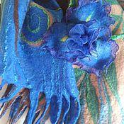 """Палантин валяный с брошью """"Синий цветок"""""""