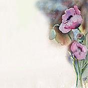 Картины и панно ручной работы. Ярмарка Мастеров - ручная работа Акварель, акварельная миниатюра. Цветы. Мак снотворный.. Handmade.