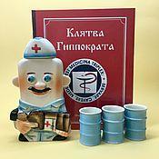 handmade. Livemaster - original item Nurse with 3 glasses. set the Hippocratic Oath. Handmade.