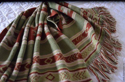 Текстиль, ковры ручной работы. Ярмарка Мастеров - ручная работа. Купить Плед Навахо, зеленый. Handmade. Комбинированный, плед крючком