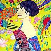 Картины и панно handmade. Livemaster - original item Painting on silk Lady with fan on the motives of G. Klimt. Handmade.