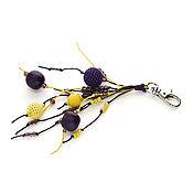 Аксессуары ручной работы. Ярмарка Мастеров - ручная работа Брелок для сумки ключей Летний вечер фиолетовый желтый. Handmade.