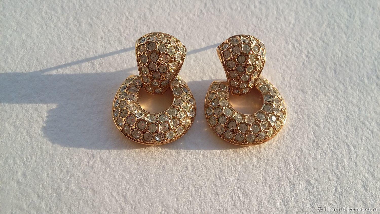 Pendientes de declaración Vintage con diamantes de imitación de ROMAN, ,70 e, EE, Vintage earrings, Blagoveshchensk,  Фото №1