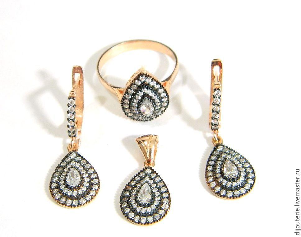 SET EARRINGS RING PENDANT 'ORIENTAL MOTIFS. Handmade, Jewelry Sets, Saratov,  Фото №1