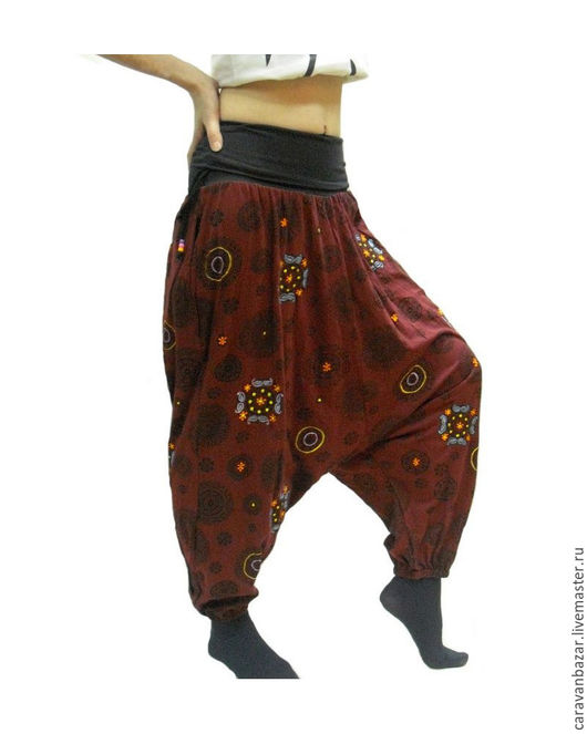 Этническая одежда ручной работы. Ярмарка Мастеров - ручная работа. Купить Штаны алладины из хлопка. Handmade. Бордовый, алладины