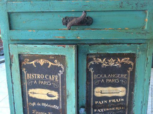 """Мебель ручной работы. Ярмарка Мастеров - ручная работа. Купить Стеллаж-буфет """"Кофейня старого Парижа"""". Handmade. Бирюзовый, кофейня"""