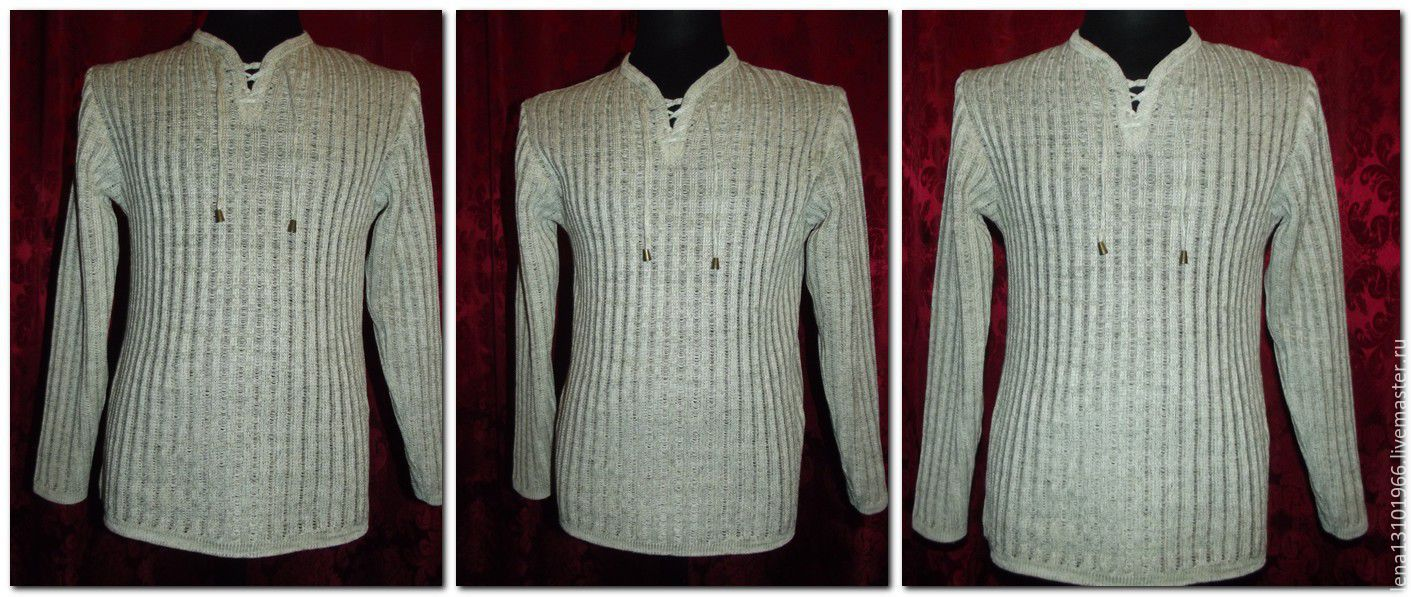 100% linen Men's shirt EMBOSSED TRACKS with lacing, Mens shirts, Kostroma,  Фото №1