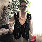 Одежда ручной работы. Ярмарка Мастеров - ручная работа Жилет вязаный  Черный ажур. Handmade.