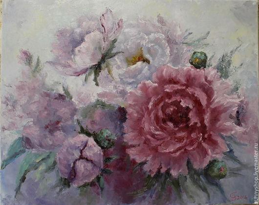 """Картины цветов ручной работы. Ярмарка Мастеров - ручная работа. Купить Картина цветов """"Пионы"""". Handmade. Бледно-розовый, нежность"""