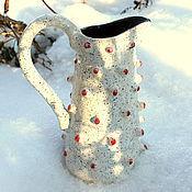 """Для дома и интерьера ручной работы. Ярмарка Мастеров - ручная работа Керамический кувшин """"На снегу"""". Handmade."""