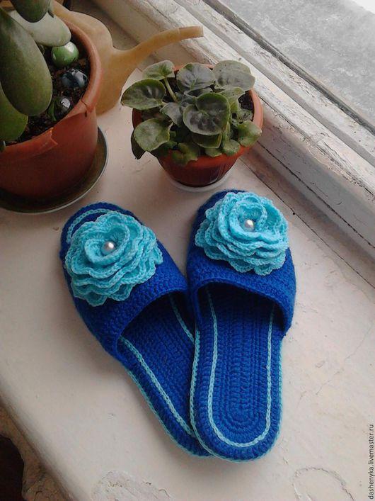 Обувь ручной работы. Ярмарка Мастеров - ручная работа. Купить тапочки домашние. Handmade. Комбинированный цвет, роза, стелька-войлок