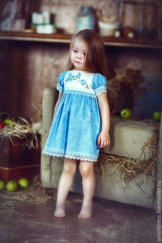 Одежда для девочек, ручной работы. Ярмарка Мастеров - ручная работа. Купить Незабудка.. Handmade. Голубой, русский стиль