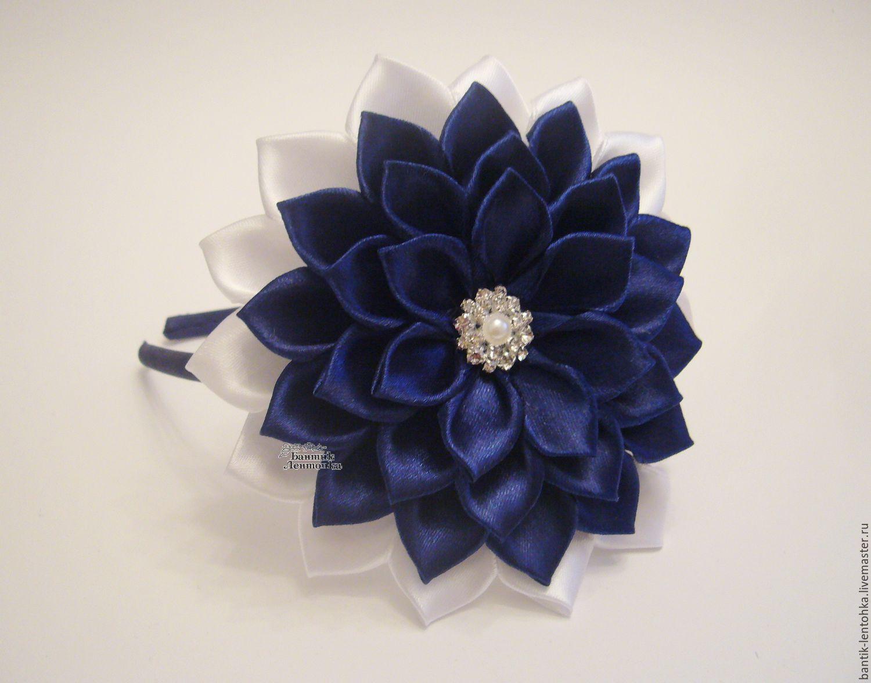 Фото цветка канзаши синего 12