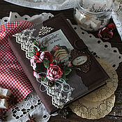 """Книги для рецептов ручной работы. Ярмарка Мастеров - ручная работа Книга кулинарная """"Аромат розы с вишней """" коричневый подарок. Handmade."""