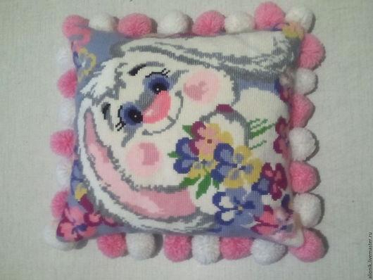 """Текстиль, ковры ручной работы. Ярмарка Мастеров - ручная работа. Купить Подушка """"Розовый кролик"""". Handmade. Комбинированный, заяц, помпоны"""