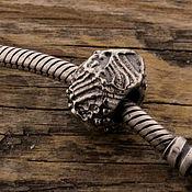 """Украшения ручной работы. Ярмарка Мастеров - ручная работа """"Древнее море"""" серебряная бусина для браслетов. Handmade."""