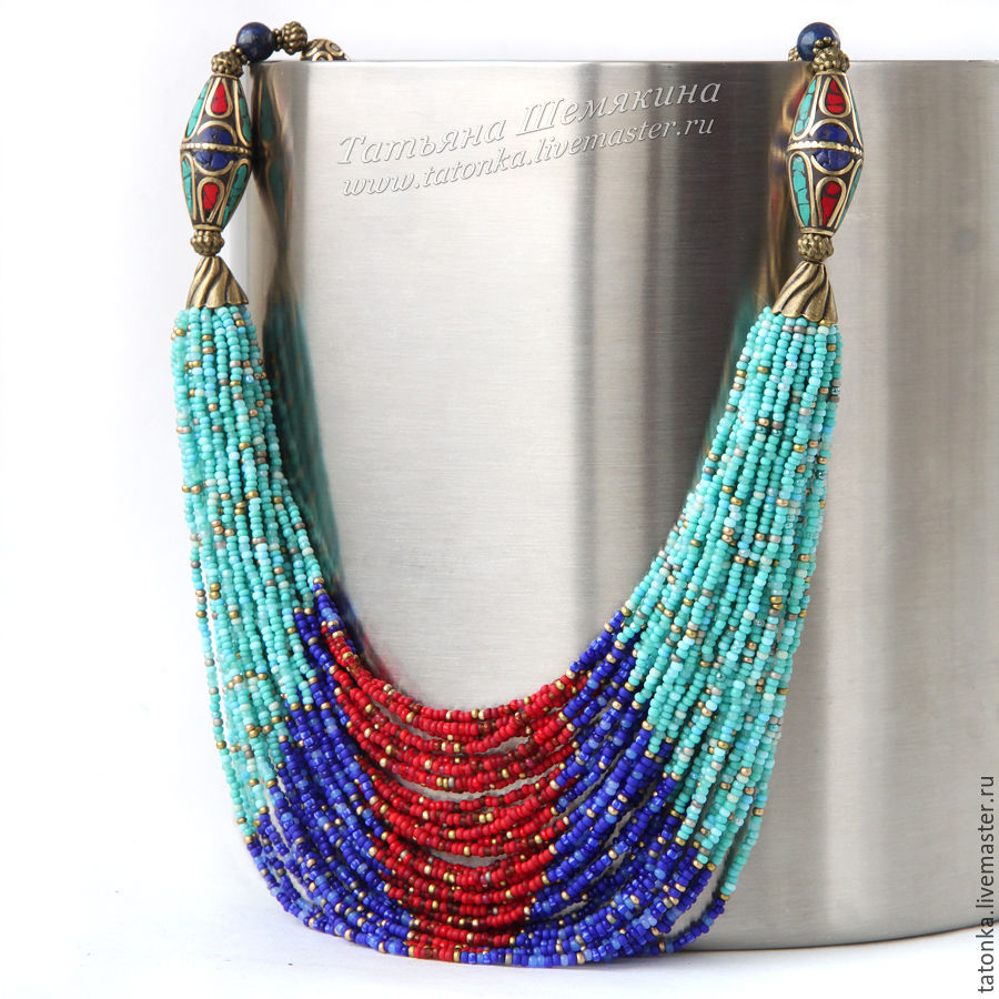 Necklace 'Improvisation in the Nepalese style' new season, Nepalese beads, Necklace, Sarov, Фото №1